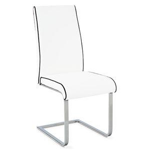 Jedálenská stolička B989 WT - chróm / koženka biela s čiernou paspulou