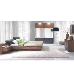 Manželská posteľ REKATO 160x200 cm orech / grafit Tempo Kondela