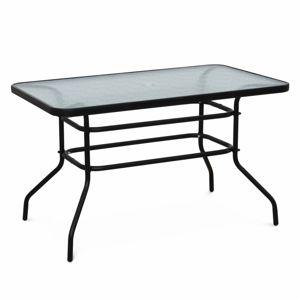 Záhradný stôl DEMAT NEW tvrdené sklo / oceľ Tempo Kondela Čierna