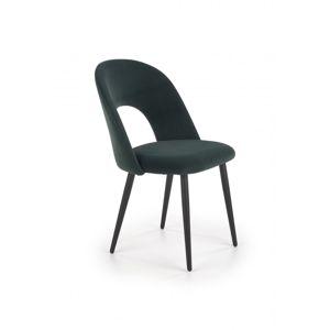 Jedálenská stolička K384 zamat / čierna Halmar Tmavo zelená