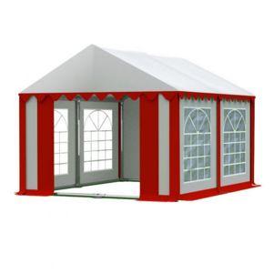 Záhradný párty stan 3x4m biela / červená PREMIUM