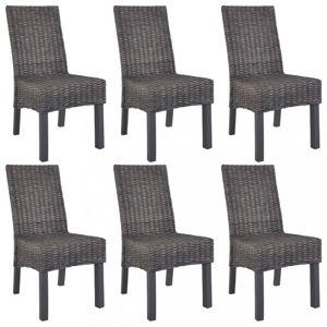 Jedálenská stolička 6 ks ratan / mangovník Dekorhome Hnedá