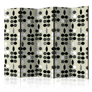 Paraván Black and White Dots Dekorhome 225x172 cm (5-dielny)