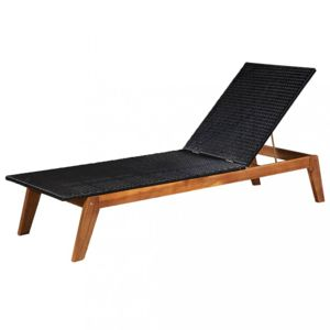 Záhradné ležadlo čierny polyratan / akáciové drevo Dekorhome