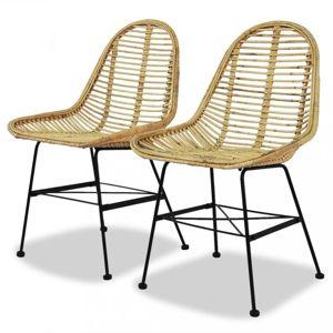 Jedálenská stolička 2 ks prírodný ratan Dekorhome Prírodná