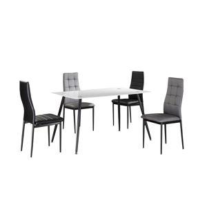 Jedálenský stôl ADMER biele sklo / čierny kov Tempo Kondela