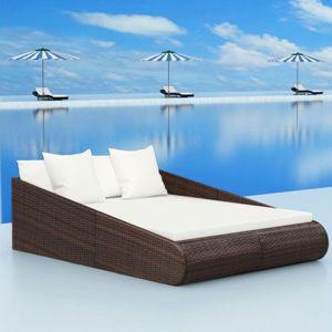 Záhradná ratanová posteľ Čierna
