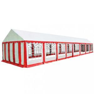 Záhradný altánok PVC 6 x 16 m Dekorhome Biela / červená