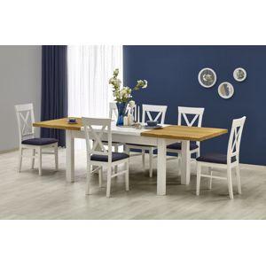 Jedálenský stôl rozkladací LEONARDO biely / medový dub Halmar