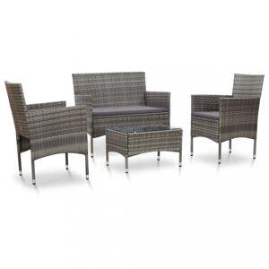 Záhradná sedacia súprava 4 ks polyratan Dekorhome Sivá