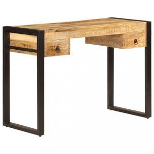Písací stôl s 2 zásuvkami masívne drevo / oceľ Dekorhome Mangovníkové drevo