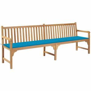 Záhradná lavička s poduškou 240 cm Dekorhome Svetlo modrá