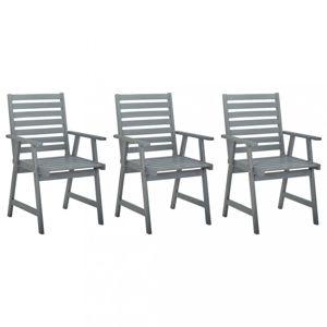 Záhradná jedálenská stolička 3 ks sivá Dekorhome